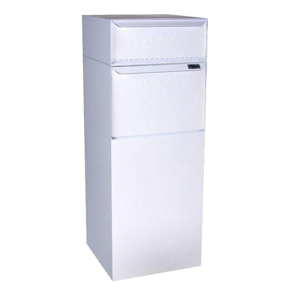 Locking Curbside Mail and Package Delivery Vault Mailboxes in White