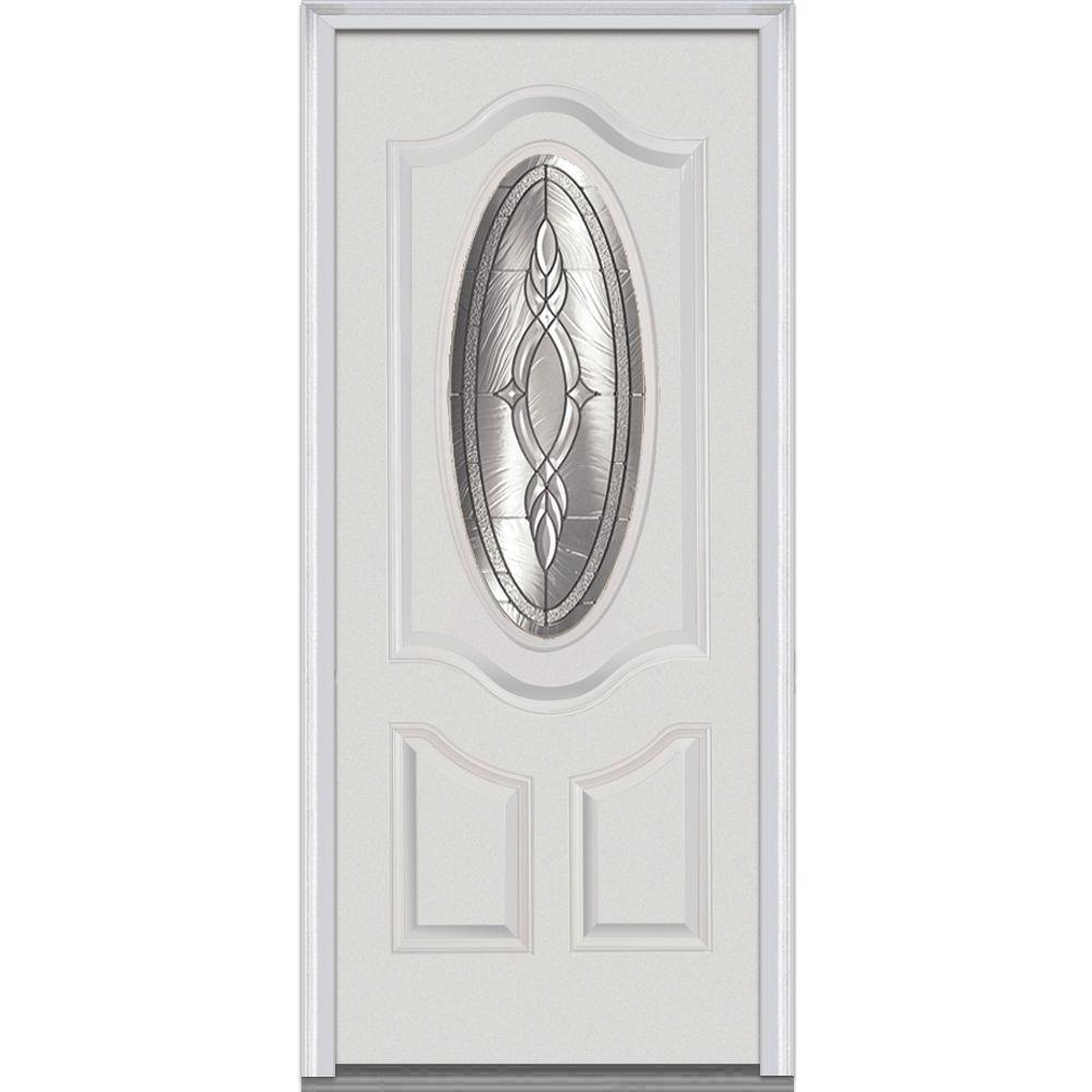 36 in. x 80 in. Brentwood Left-Hand 3/4 Oval Lite 2-Panel
