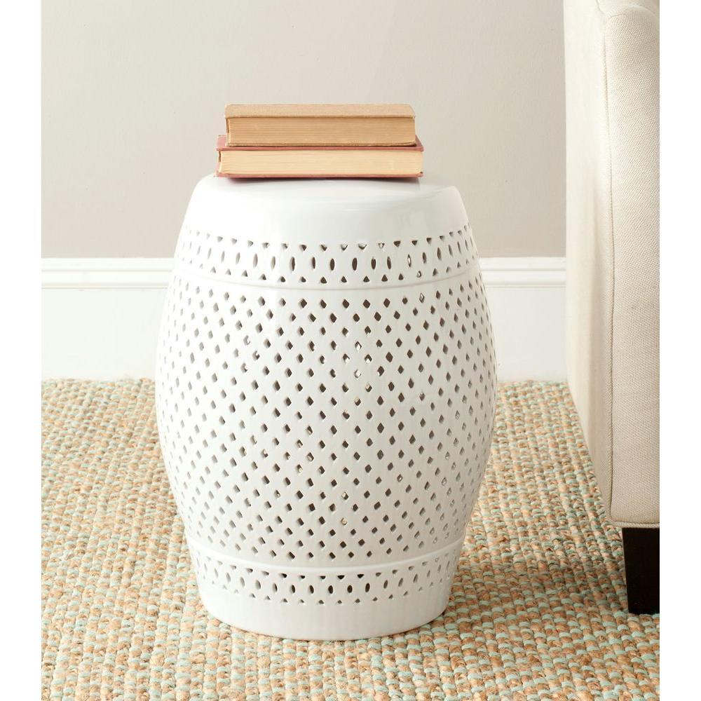 Diamond White Ceramic Garden Stool