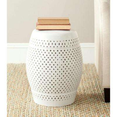 Diamond White Ceramic Patio Stool