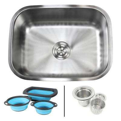 Undermount 16-Gauge Stainless Steel 23-3/8 in. Single Bowl Kitchen Sink in Pearl Satin Finish with Silicone Colanders