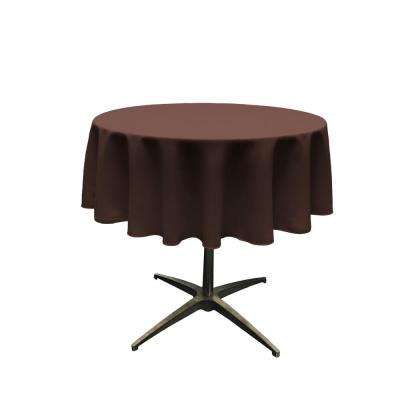 58 in. Round Brown Polyester Poplin Tablecloth