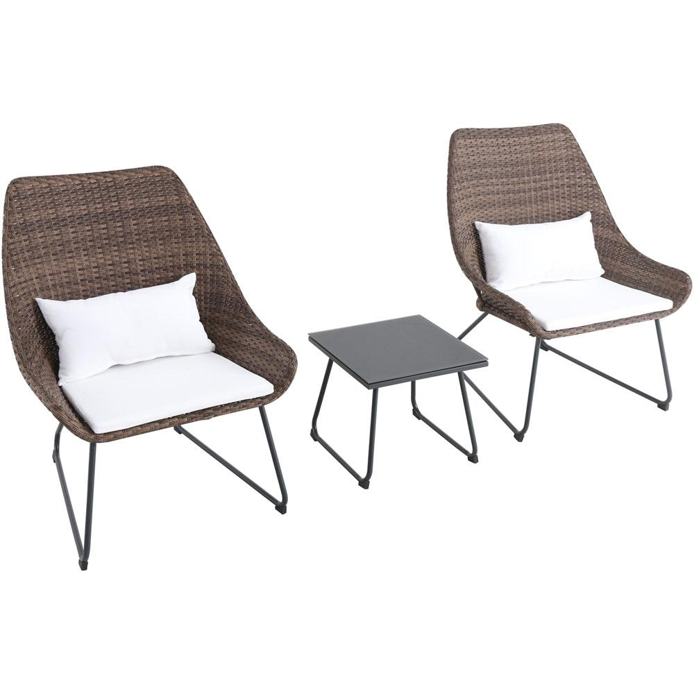 Montauk 3-Piece Wicker Patio Seating Set with White Cushions