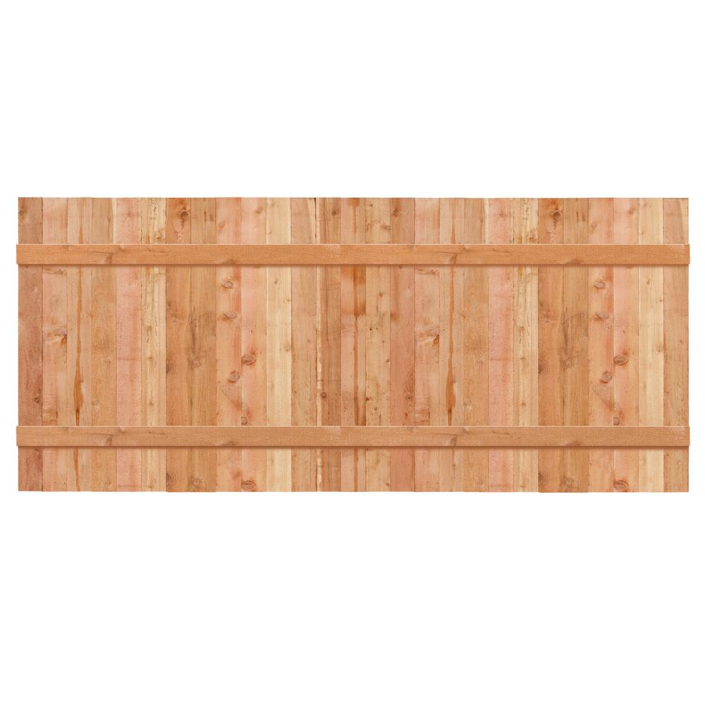 Outdoor Essentials 3 1 2 Ft X 8 Ft Western Red Cedar Privacy Flat Top Fence Panel Kit 241287 The Home Depot