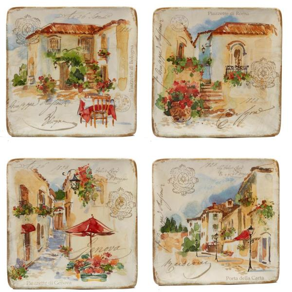 Piazzette 4-Piece Traditional Multi-Colored Ceramic 11 in. Dinner Plate Set (Service for 4)