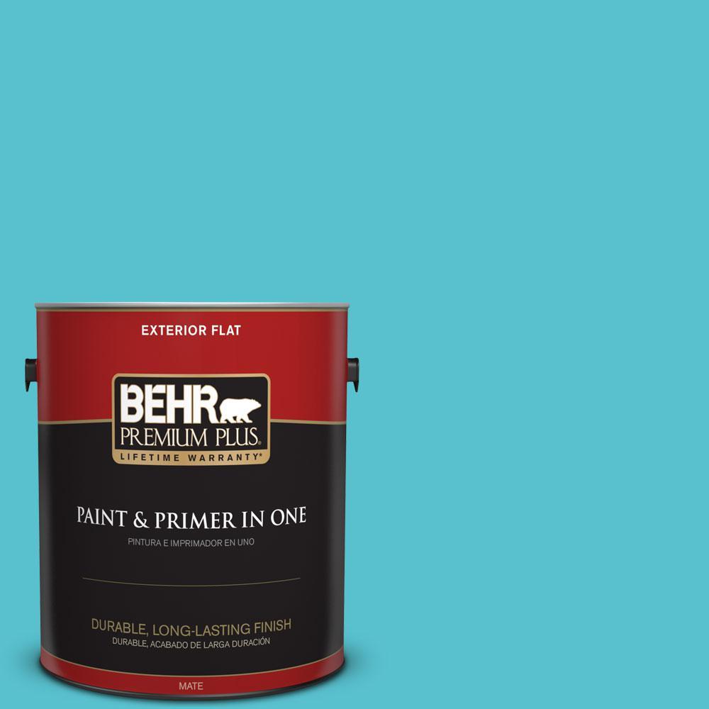 BEHR Premium Plus 1-gal. #510B-5 Jamaican Sea Flat Exterior Paint
