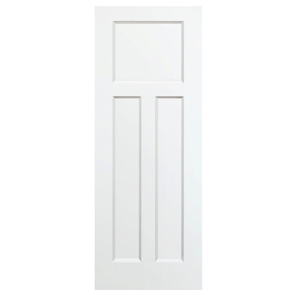24 in. x 80 in. 3-Panel Mission Shaker White Primed Solid