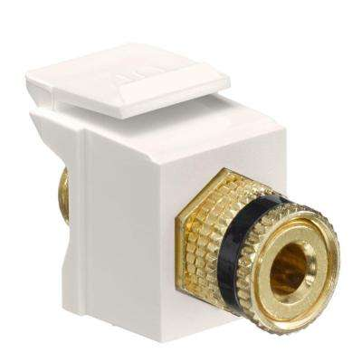 QuickPort Binding Post Connector with Black Stripe, Light Almond