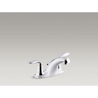 Coralais 4 in. Centerset 2-Handle Bathroom Faucet with Plastic Pop-Up Drain in Polished Chrome