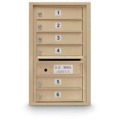 6-Door Standard 4-Compartment Mailbox (Sandstone)