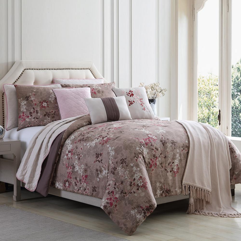Monet Florla 10-Piece Multi-Color King Comforter/Coverlet Set
