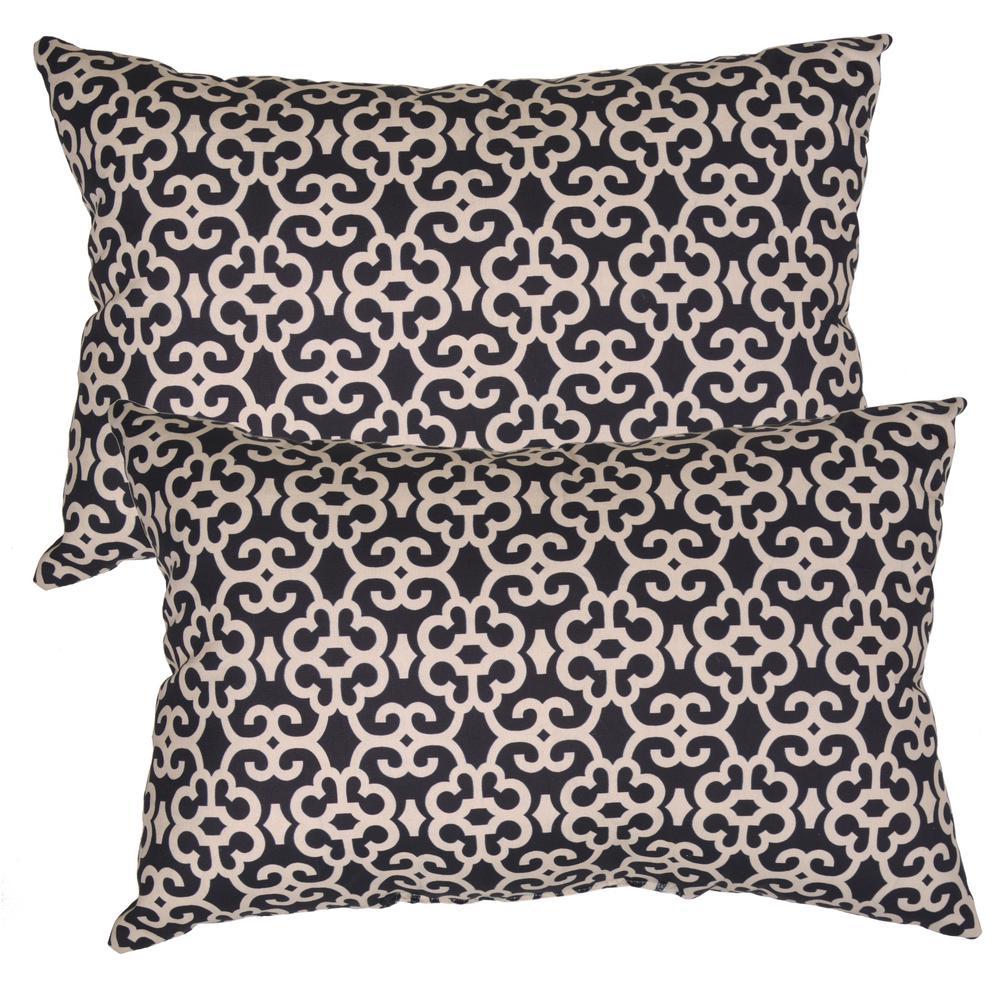 Black Trellis Lumbar Outdoor Throw Pillow (2-Pack)