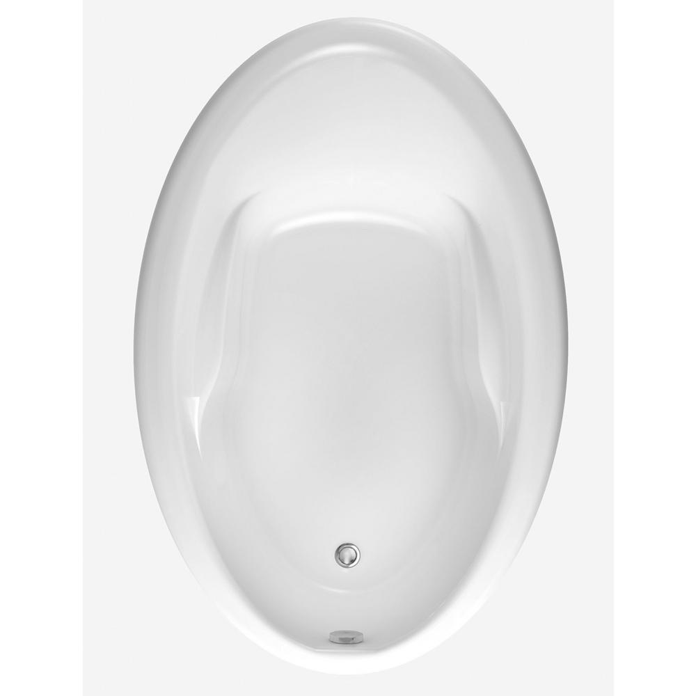 Acrylic Reversible Drain Oval Drop In Soaking Bathtub White