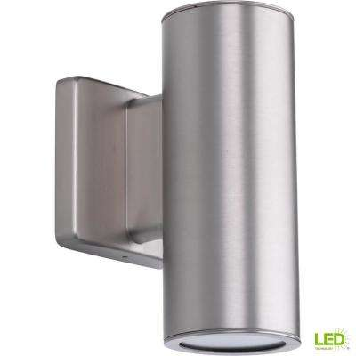 Cylinders Collection 2-Light Satin Nickel Integrated LED 8.25 in. Outdoor Wall Mount Cylinder Light