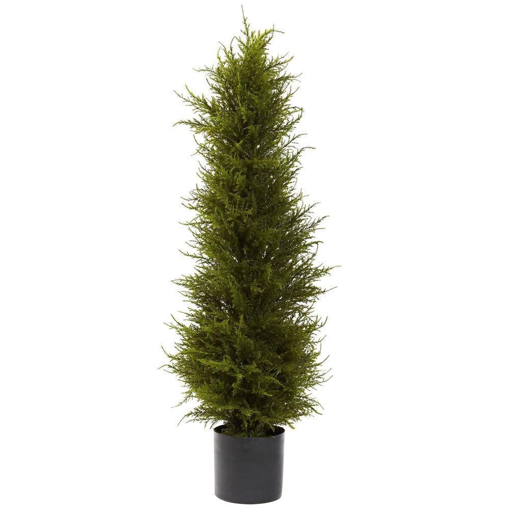 Nearly Natural 42 in. Cedar Tree You love Cedar, we love Cedar everyone loves Cedar. Maybe that's because it's simply a classic look that stands the test of time. And we've captured that look with this Cedar tree. Standing a proud 42 in. tall, this lush, rich, forever green tree will be a welcome part of your decor for years to come. Complete with a black pot, this tree will never need water and also makes a great gift.