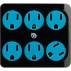 6 Grounded Outlet Tap, Black and Blue