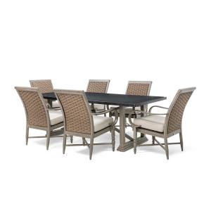 BLUE OAK Saylor Wicker 7-Piece Outdoor Dining Set with Outdura Remy Sand Cushion by BLUE OAK