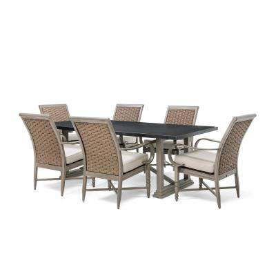 Saylor Wicker 7-Piece Outdoor Dining Set with Outdura Remy Sand Cushion