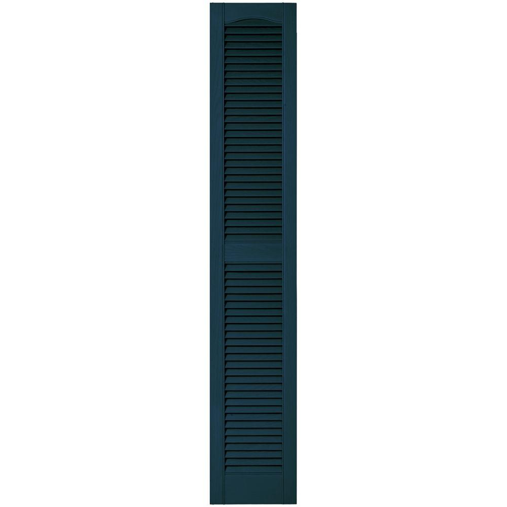 Builders Edge 12 in. x 67 in. Louvered Vinyl Exterior Shutters Pair in #166 Midnight Blue