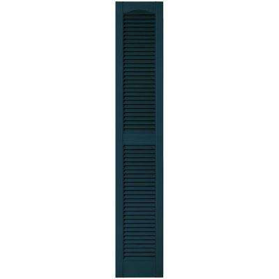 12 in. x 67 in. Louvered Vinyl Exterior Shutters Pair in #166 Midnight Blue