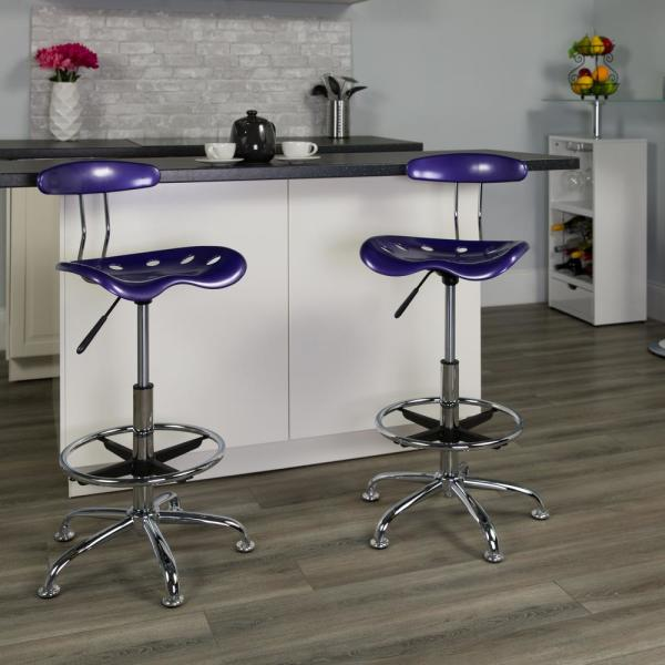 Vibrant Violet Workshop Stool with Adjustable Height /& Tractor Seat Salon Stool