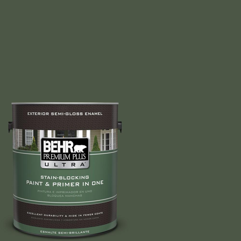 BEHR Premium Plus Ultra 1-gal. #440F-7 Fresh Pine Semi-Gloss Enamel Exterior Paint