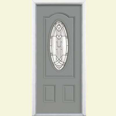 Chatham 3/4 Oval Lite Primed Steel Prehung Front Door with Brickmold : oval doors - pezcame.com