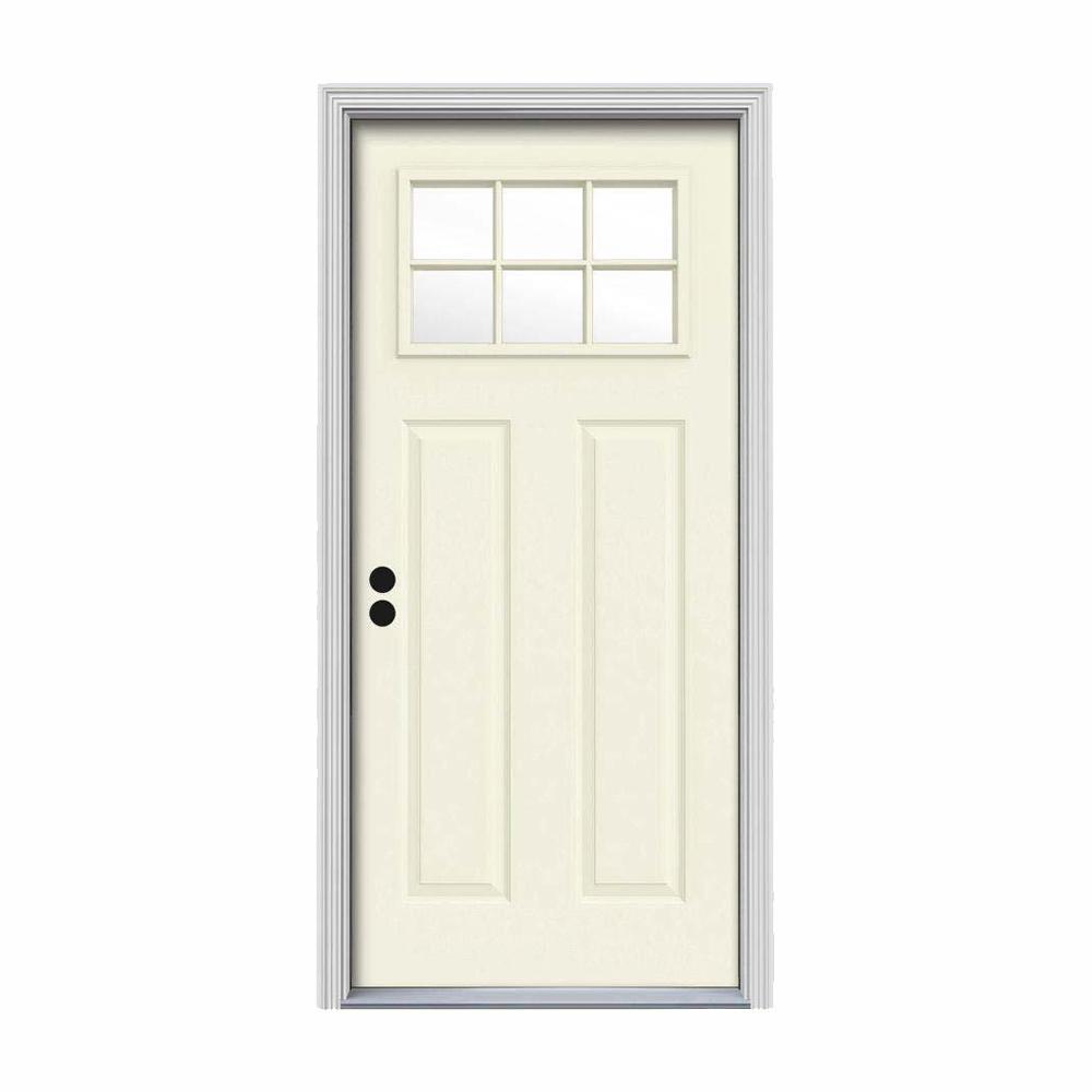 30 in. x 80 in. 6 Lite Craftsman Vanilla Painted Steel Prehung Right-Hand Inswing Front Door w/Brickmould