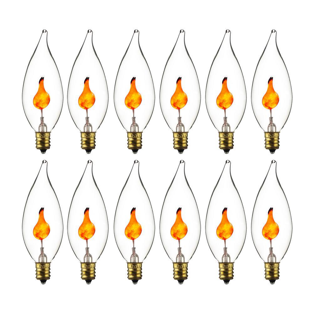 xDecorative Petite Chandelier Flicker Flame Light Bulb Candelabra Base E12 Clear