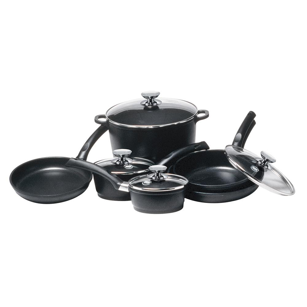 Signocast 10 Piece Non Stick Cast Aluminum Cookware Set With Lids, Black