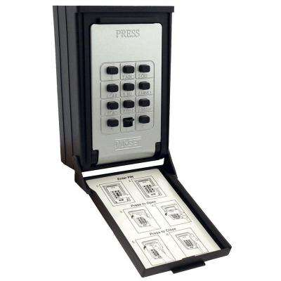 Key/Card Storage Wall Mount Push Button Combination Lockbox, Black
