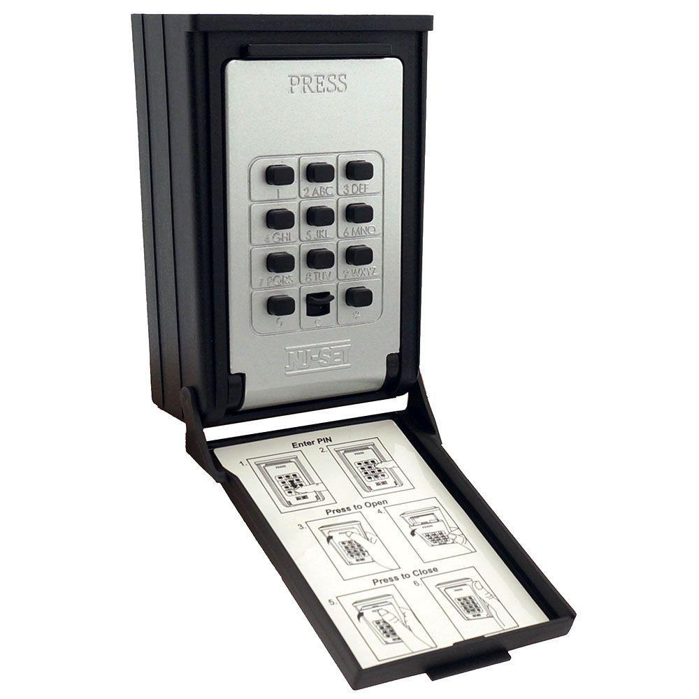 Key/Card Storage Wall Mount Push Button Combination Lockbox, Black