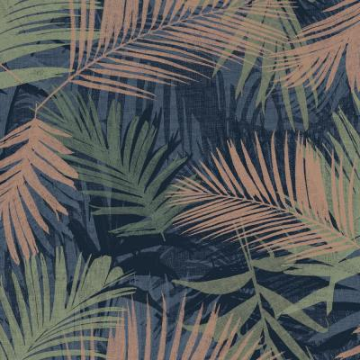 Jungle Glam Blue, Green and Copper Removable Wallpaper