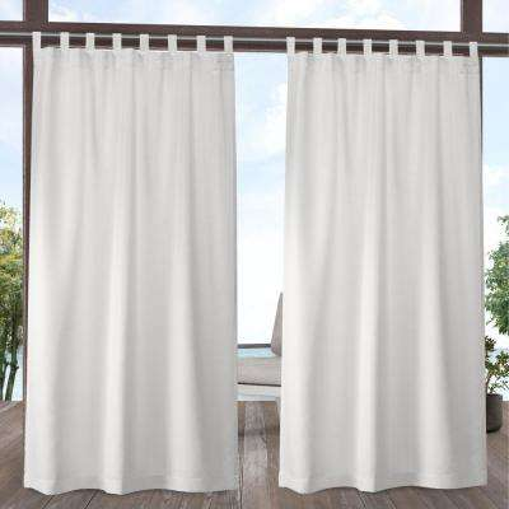 Indoor/Outdoor Solid Cabana Vanilla Light Filtering Tab Top Curtain Panel 54 in. W x 120 in. L (2 Panels)