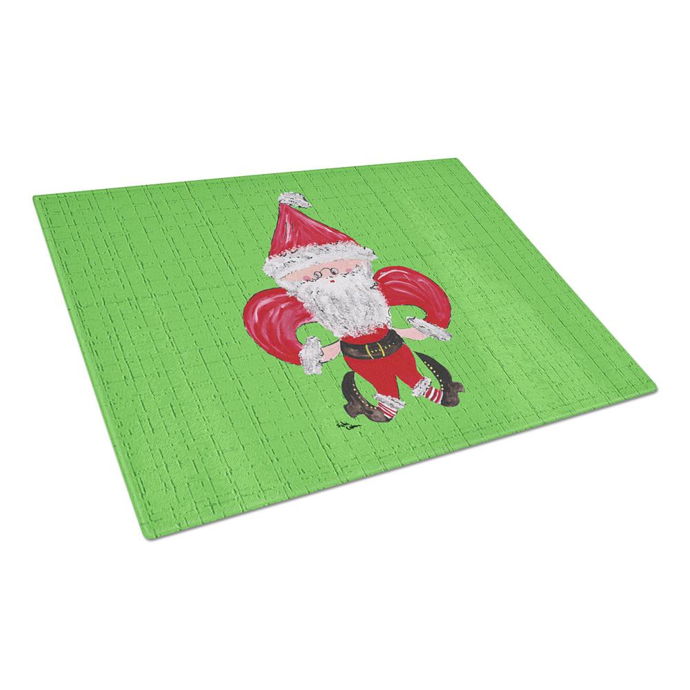 Christmas Fleur-de-lis Santa Claus Tempered Glass Large Cutting Board