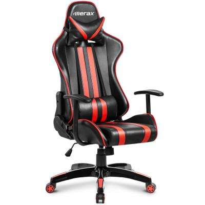 High Back Black and Red Faux Leather Swivel Gaming Chair