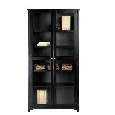 Oxford Black Glass Door Bookcase