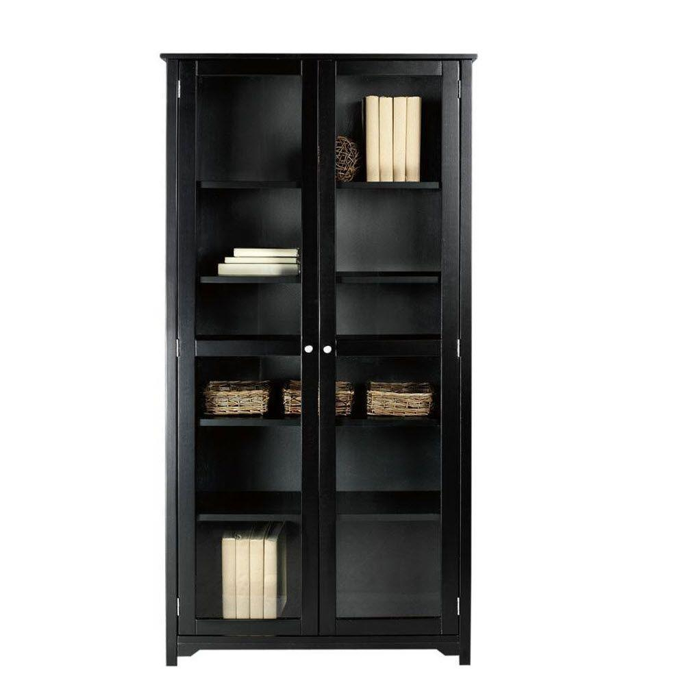 Home decorators collection oxford black glass door for Home decorators bookcase