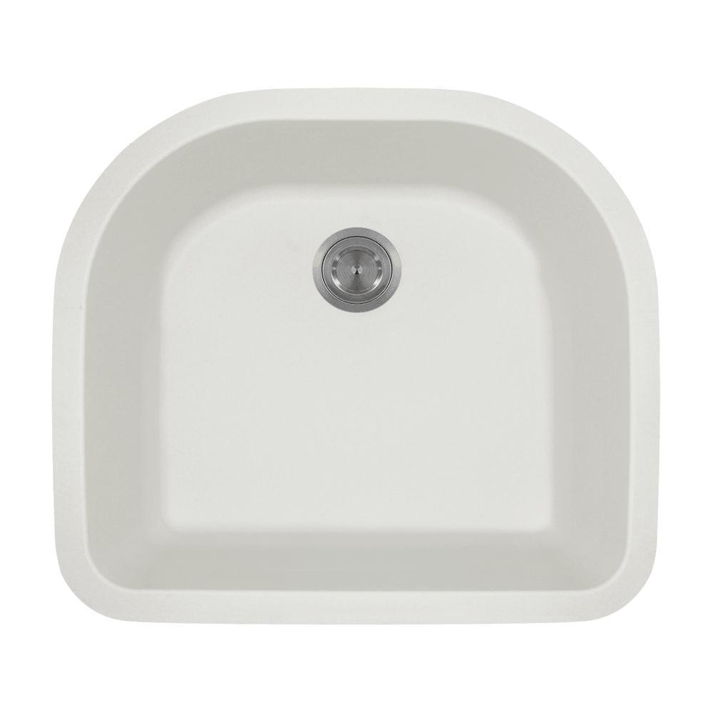 MR Direct Undermount Granite Composite 24.75 in. 0-Hole Single Bowl ...
