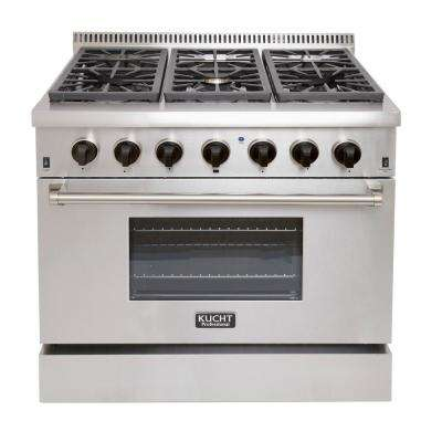 Pro-Style 36 in. 5.2 cu. ft. Dual Fuel Range  with Sealed Burners in Stainless Steel  with Tuxedo Black Knobs