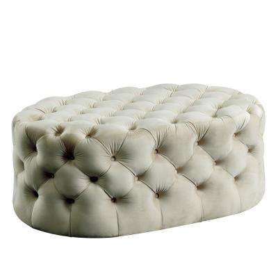 Miller Beige Oval Button Tufted Ottoman