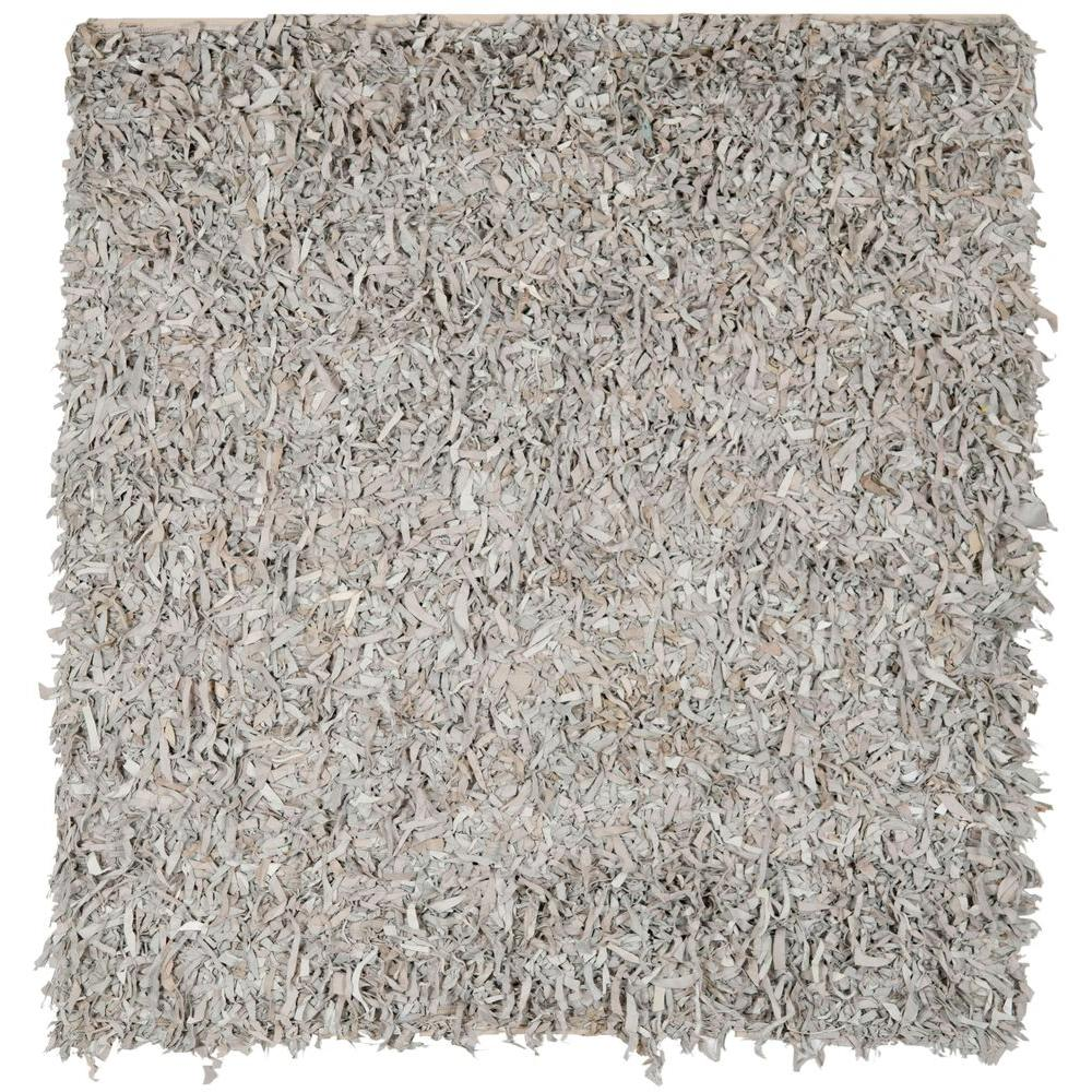 Safavieh Leather Shag White 8 Ft X 8 Ft Square Area Rug