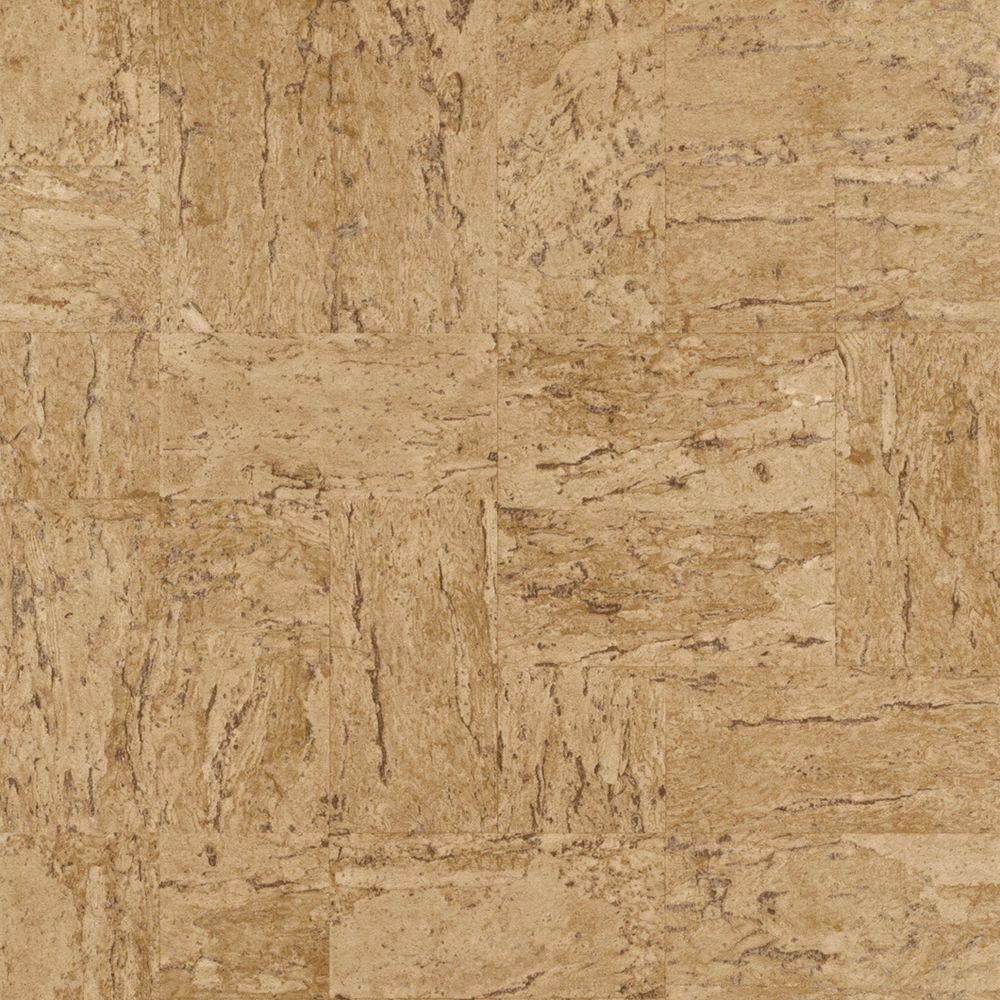 Natural Tan Toned Faux Cork Vinyl Wallpaper