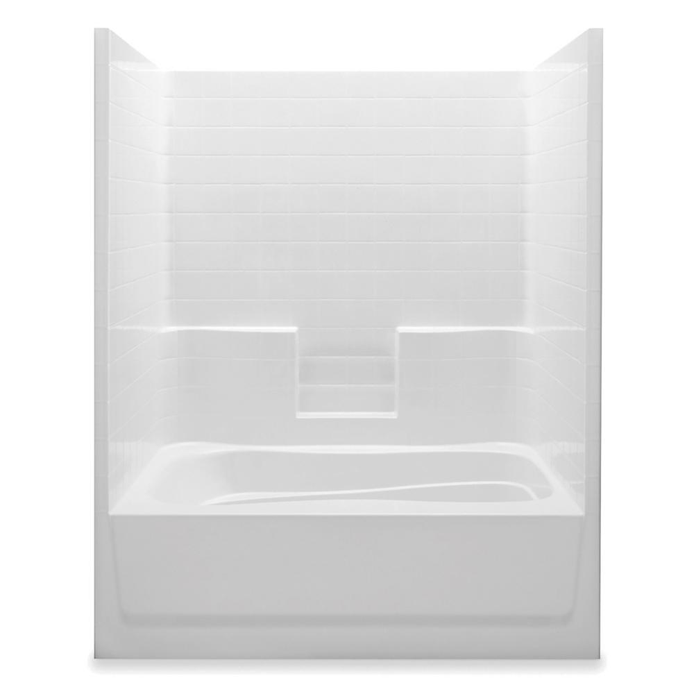 Aquatic Everyday 60 in. x 42 in. x 74 in. 1-Piece Bath and Shower ...