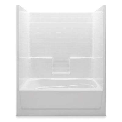 Everyday 60 in. x 42 in. x 74 in. 1-Piece Bath and Shower Kit with Right Drain in White