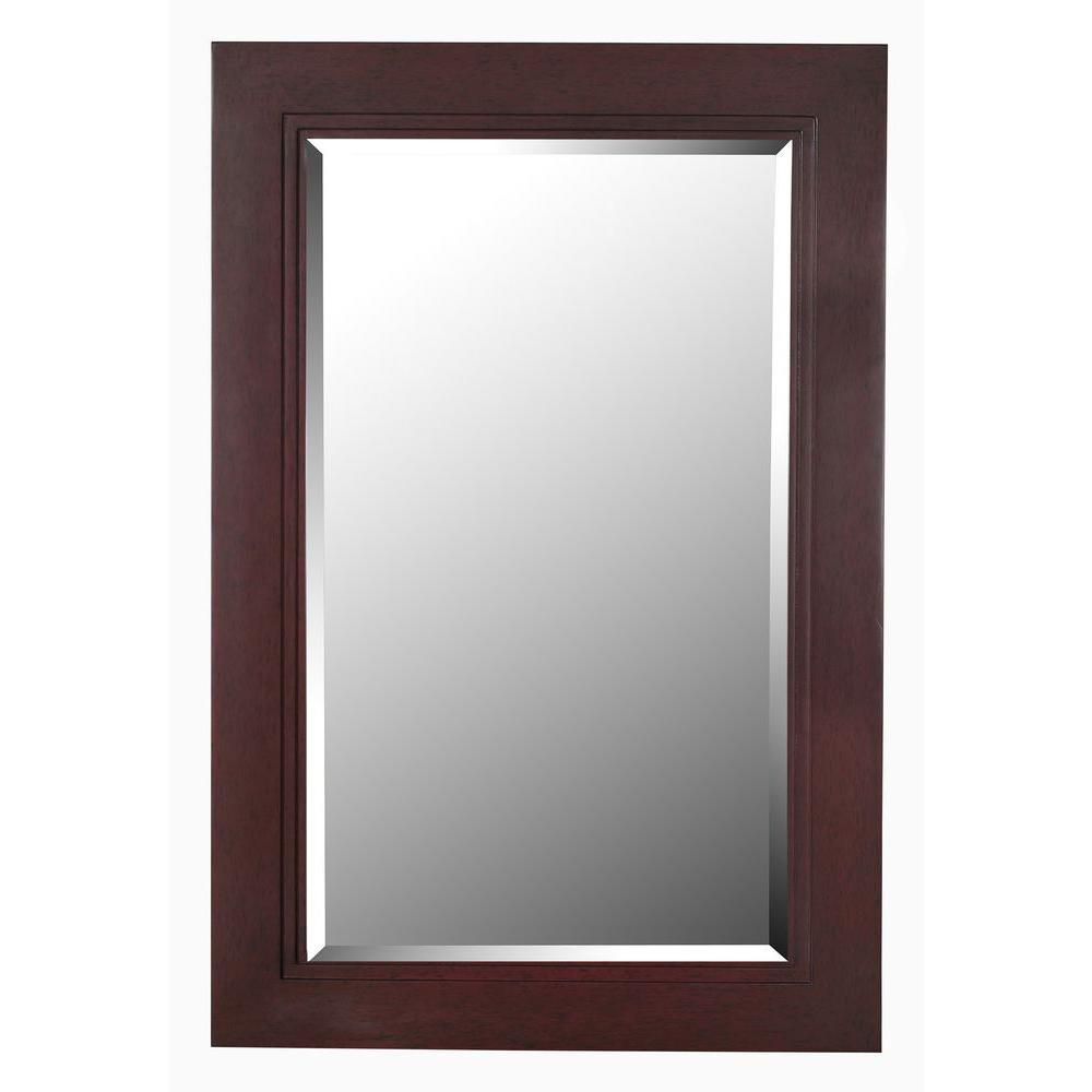 Kenroy Home Woodley 42 in. x 28 in. Dark Wood Grain Wall Framed Mirror