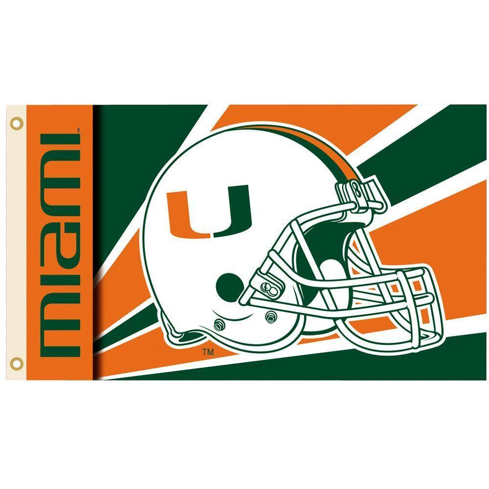 BSI Products NCAA 3 ft. x 5 ft. Helmet Miami Flag