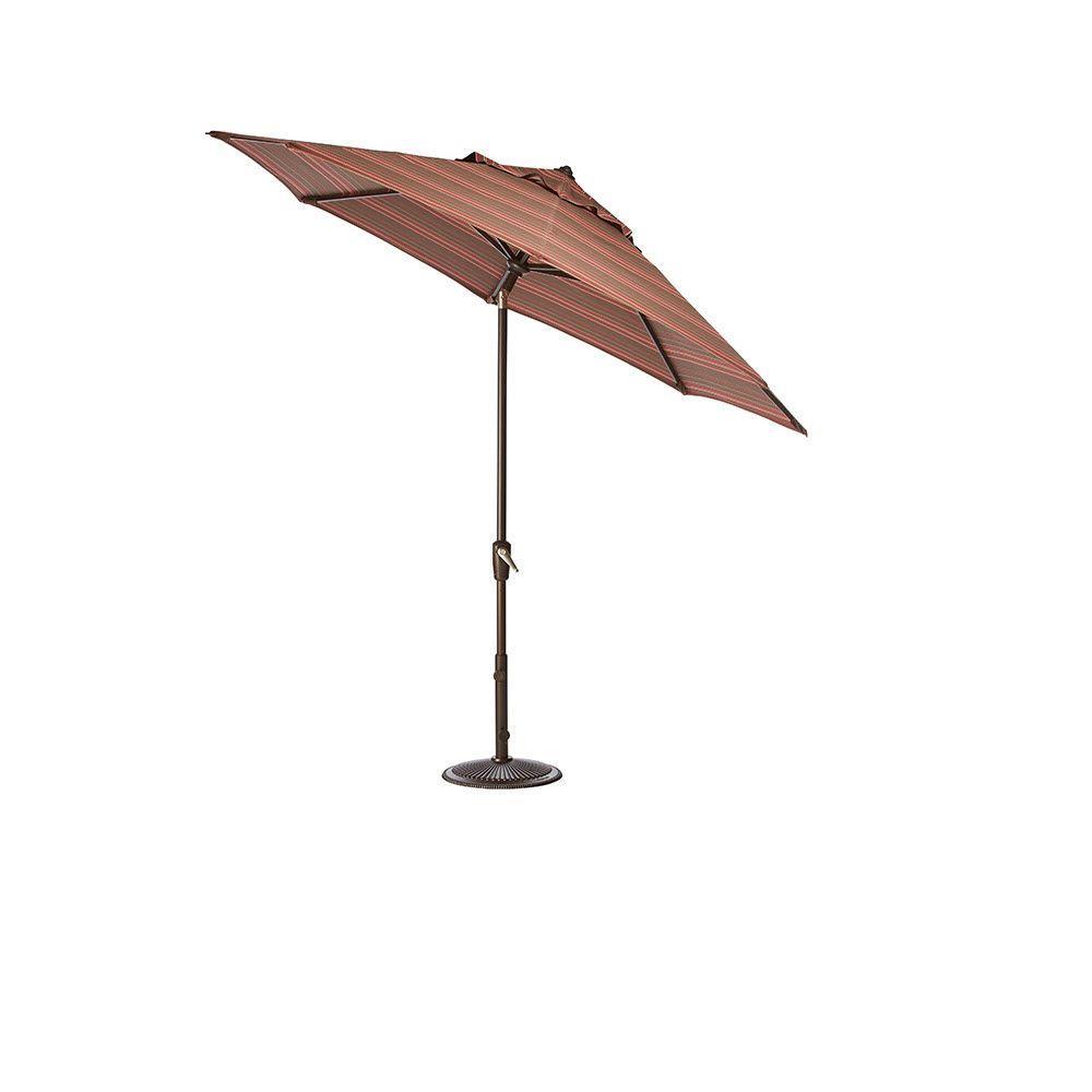 Home Decorators Collection 7.5 ft. Auto-Tilt Patio Umbrella in Stanton Brownstone Sunbrella with Bronze Frame