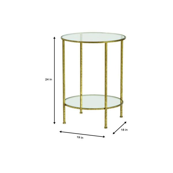Home Decorators Collection Bella Aged Gold Glass Top End Table 9501300910 The Home Depot
