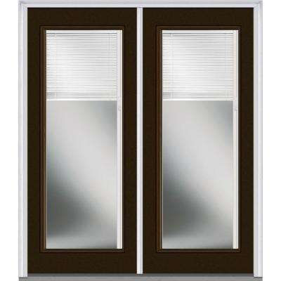72 in. x 80 in. Internal Blinds Left-Hand Inswing Full Lite Clear Glass Painted Fiberglass Smooth Prehung Front Door